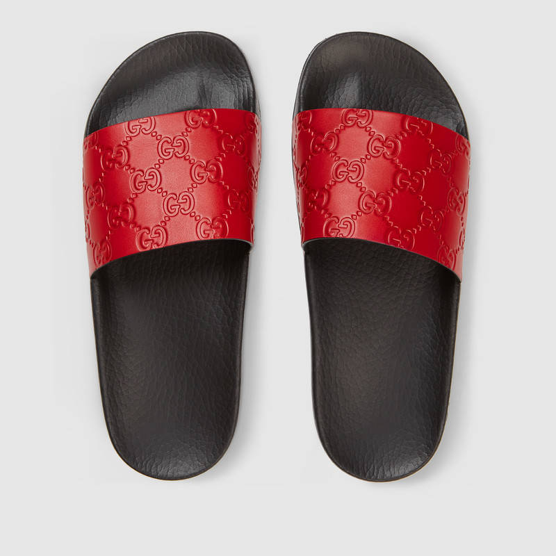 GUCCI RED SIGNATURE SLIDE SANDAL