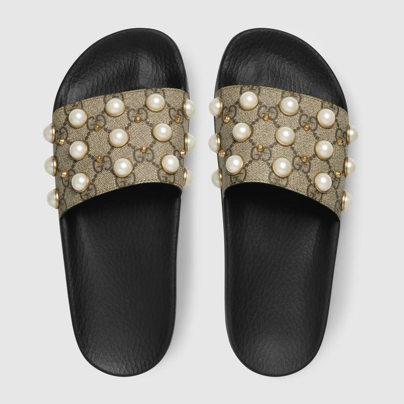 fbb49a4252f gucci slides gg supreme slide with pearls diamond gucci slides gucci ...