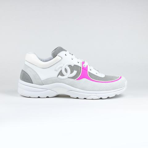 CLEARANCE - CHANEL LOW CUT SS18 SNEAKERS / PINK & WHITE