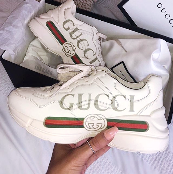 a35555a0e rhyton gucci logo leather sneaker rhyton gucci logo leather sneaker ...
