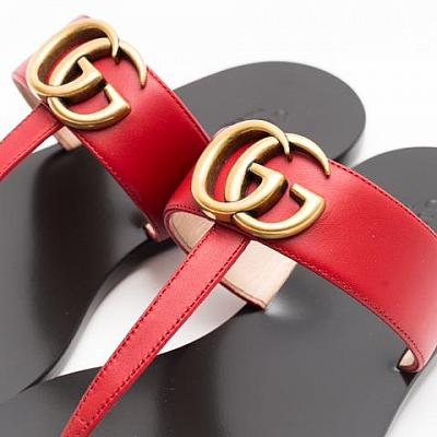 GUCCI LEATHER GG SANDAL