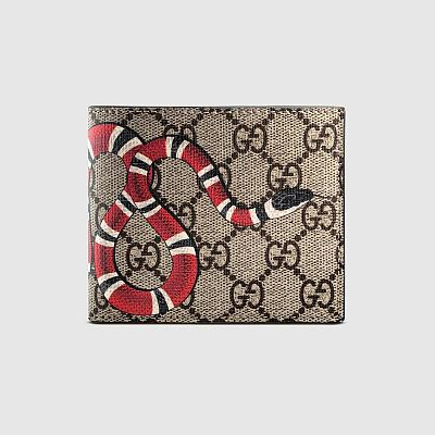 GUCCI KINGSNAKE BROWN CANVAS FOLD WALLET