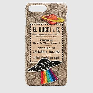 GUCCI COURRIER PHONE CASE BROWN