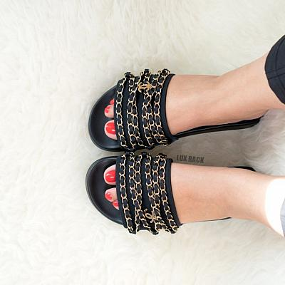 CLEARANCE - CHANEL CHAIN SLIDES BLACK