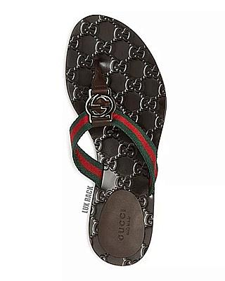 GUCCI FLIP FLOP RED/GREEN THONG SANDAL
