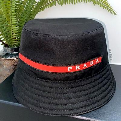 PRADA RED STRIPE LOGO NYLON BUCKET HAT