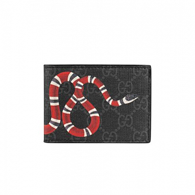 GUCCI KINGSNAKE BLACK CANVAS FOLD WALLET