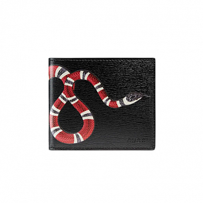 GUCCI KINGSNAKE LEATHER BLACK WALLET