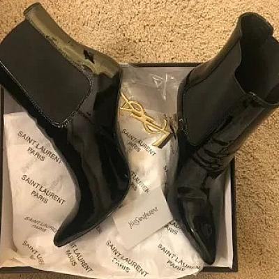 CLEARANCE - YSL OPYUM PATENT POINT TOE ANKLE BOOT