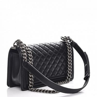 ASSORTED CHANEL BOY BAG - SILVER CHAIN (COLORS AVAILABLE)