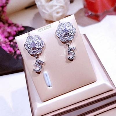 CHANEL STYLE FLOWER #5 DROP EARRINGS