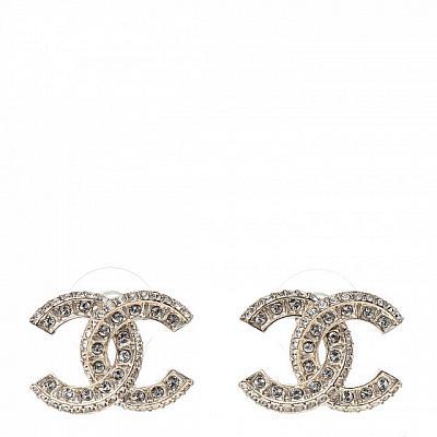 CHANEL DOUBLE C STYLE DIAMOND STUD EARRINGS
