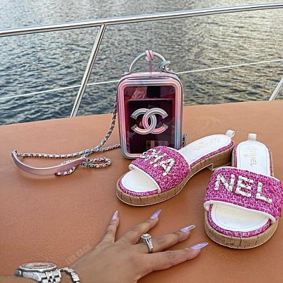 CHANEL TWEED SLIDES CORK BLOCK SANDALS - (Colors Available)