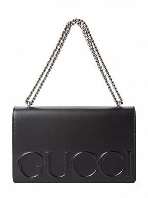GG EMBOSSED LEATHER HANDBAG