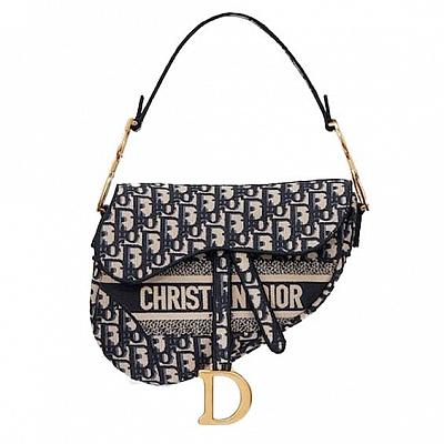 DIOR CANVAS SADDLE BAG FULL NAME FRONT
