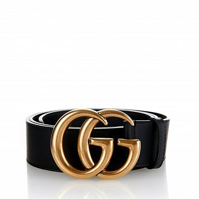 GUCCI GOLD BUCKLE GG BELT - BLACK (Sizes Available)
