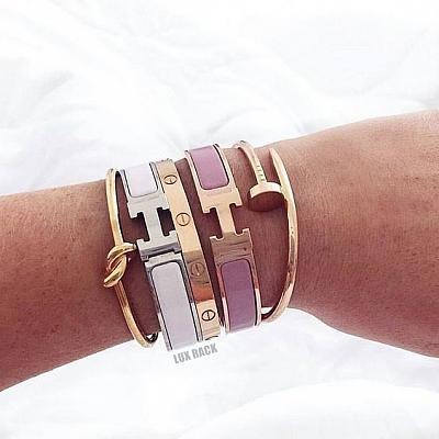 HERMES GOLD H BRACELET CLIC - Colors Available