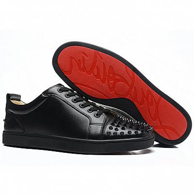 LOUBOUTIN LEATHER SPIKE LOW CUT SNEAKER