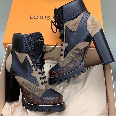 LV STAR TRAIL SUEDE PATCH ANKLE BOOT HEELS