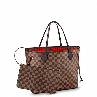 NEVER-FULL BROWN CHECKERED GM HANDBAG