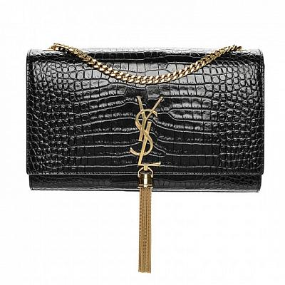 YSL KATE CROCODILE GOLD CHAIN TASSEL BAG