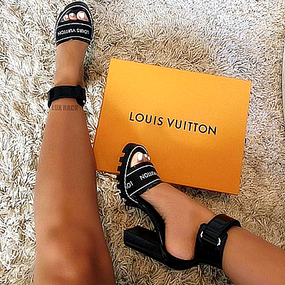 LV STAR TRAIL ANKLE STRAP HEELS