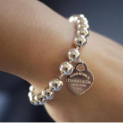 Tiffany Bead Bracelet With Heart Charm Fake Gold Return To Review
